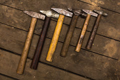Six old hammers Royalty Free Stock Images