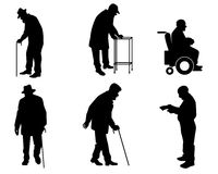 Six old people silhouettes. Vector illustration of a six old people silhouettes Royalty Free Stock Image