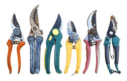 Six old Secateurs. Old and very old, much used in garden secateurs, different sizes, shapes and colors Stock Photography