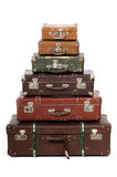 Six old suitcases Royalty Free Stock Images