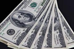 Six one hundred United States dollars banknotes Stock Photos