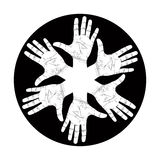 Six open hands abstract symbol, detailed black and white vector Stock Photography