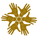 Six open hands abstract symbol with hexagonal star, detailed sin Stock Images