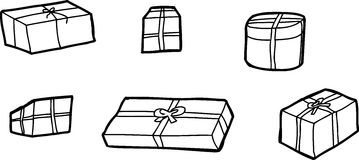 Six Outline Gift Boxes Stock Photos