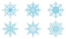 Six outline snowflakes set for design. Blue on white background vector illustration
