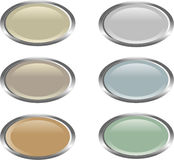 Six oval web buttons. Set of six oval-shaped web buttons in simple muted colors Stock Photo