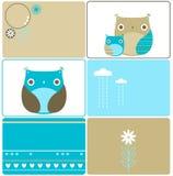 Six owls designs Royalty Free Stock Photos