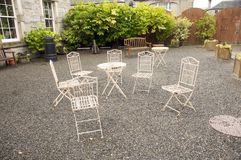 Six oxide metal chairs Royalty Free Stock Images