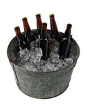 Six Pack of Beer in Ice Bucket. A six pack of homebrew beer in a galvanized steel ice pail Stock Photography