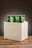 Six Pack Beer on Wood Table Stock Photo