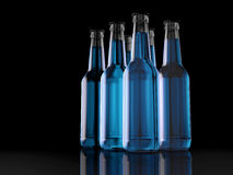 Six Pack - Bottles - Party Pack - 3D - Beer. Six Bottles blue on a reflective layer Royalty Free Stock Images