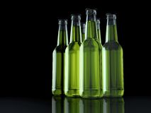 Six Pack - Bottles - Party Pack - 3D - Beer. Six Bottles green on a reflective layer Stock Photography