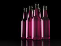 Six Pack - Bottles - Party Pack - 3D - Beer. Six Bottles pink on a reflective layer Royalty Free Stock Photo