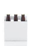 Six Pack of Brown Beer Bottles Stock Photos