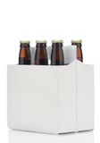 Six pack of brown beer bottles Royalty Free Stock Photos