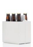 Six pack of brown beer bottles Royalty Free Stock Photos
