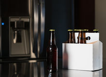 Six pack of brown beer bottles on kitchen counter Stock Photography