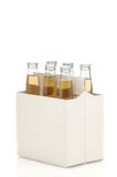 Six Pack of Clear Beer Bottles. Isolated over white with reflection vertical format Stock Photo