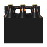 Six Pack of Dark Beer Bottles. Six pack cardboard carton with dark beer bottles isolated on white background Stock Photo