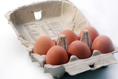Six pack of eggs. Images of a six pack of eggs in box Royalty Free Stock Photo