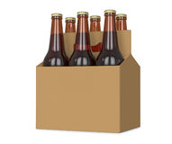 Six pack of glass bottled beer in generic brown cardboard carrier 3d Illustration, isolated on white background. Royalty Free Stock Images