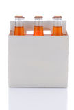 Six Pack of Orange Soda Bottles Stock Image