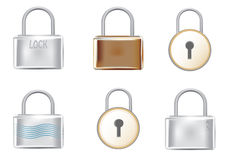 Six padlocks. Six different padlocks without keys Royalty Free Stock Photos