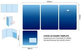 Six page A4 Folder template with Die Cut and standard business card Royalty Free Stock Photo