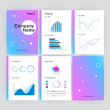 Six page of vector modern annual report template in flat style. With shadows. Infographic brochures and flyers for marketing, data visualization, presentations royalty free illustration
