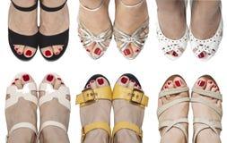 Six paires de pieds en sandales photo stock