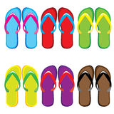 Six pairs of colorful flip flops Stock Photos