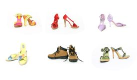 Six pairs shoes Stock Photography