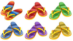 Six pairs of slippers. Illustration of the six pairs of slippers on a white background Stock Photo