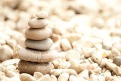 Six pale pebbles zen tower Stock Photo