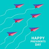 Six paper planes. Dash line  Presidents Day Stock Images