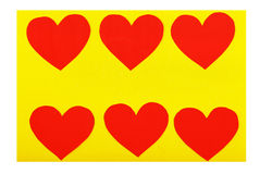 Six paper red hearts Stock Photos