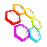Six part composition made of hexagon segments. Six part composition made of glossy rainbow colored hexagon segments with metal edging isolated on white Vector Illustration