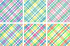 Six Pastel Plaids. Illustration of six different pastel plaids Stock Images