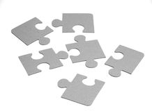 Six peace of puzzle. Isolated Stock Photography