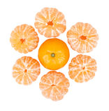 Six peeled mandarins and one unbroken one isolated Royalty Free Stock Photos