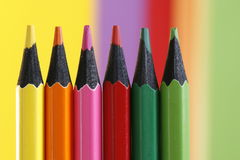 Six pencils. A part of  pencils with a simple  colorful background Royalty Free Stock Photos