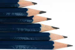 Six pencils blue. Set of six pencils blue in diagonal Stock Photo