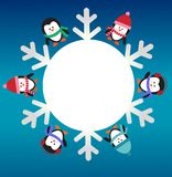 Six penguins with snowflake Royalty Free Stock Image