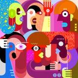 Six People Portrait stock illustration