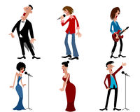 Six person of artists. Vector illustration of a six person of artists Stock Photos