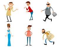 Six personnages de dessin animé à la mode Photographie stock