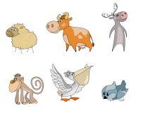 Six personnages de dessin animé d'animaux Photos stock