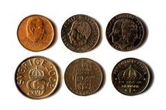Six pièces de monnaie de Suède Images libres de droits