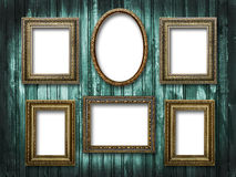 Six picture frames on a wooden background grunge Stock Photography