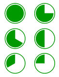 Six pie diagrams. Set of six green pie diagrams for a presentation or an infographic, 100%, 75%, 66%, 50%, 33% and 25%. Vector illustration Royalty Free Stock Photo